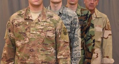 Starting October 1, 2018, the Operational Camouflage Pattern uniform will be the new uniform of the U.S. Air Force. The OCP Replaces the Airman Battle Uniform, which has been the standard uniform since 2011, when it replaced both the woodland camouflage Battle Dress Uniform and Desert Camouflage Uniform. (U.S. Air National Guard photo illustration by Tech. Sgt. Daniel Ter Haar)